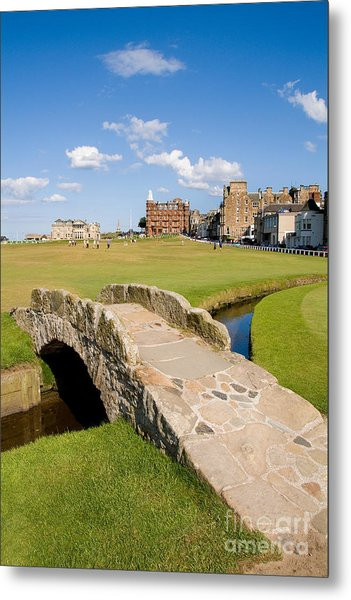 Swilcan Bridge On The 18th Hole At St Andrews Old Golf Course Scotland Metal Print