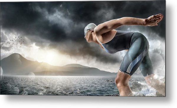 Swimmer About To Dive In Sea Metal Print by Peepo