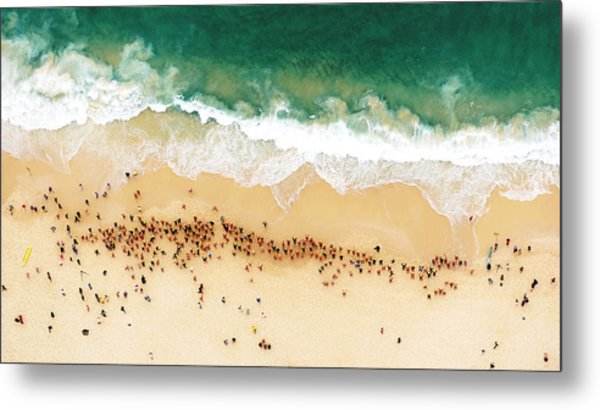 Swimmers Waiting For An Ocean Race To Metal Print by Tommy Clarke