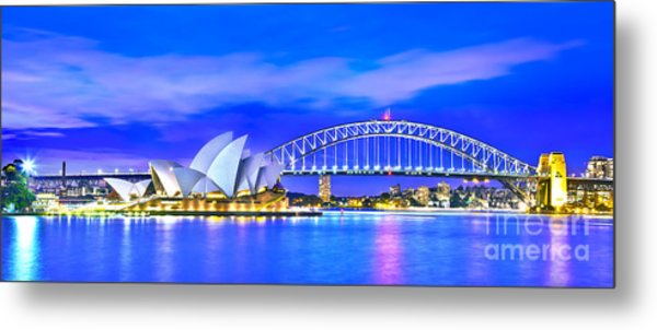 Sydney Harbour Blues Panorama Metal Print