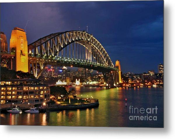 Sydney Harbour Bridge By Night Metal Print
