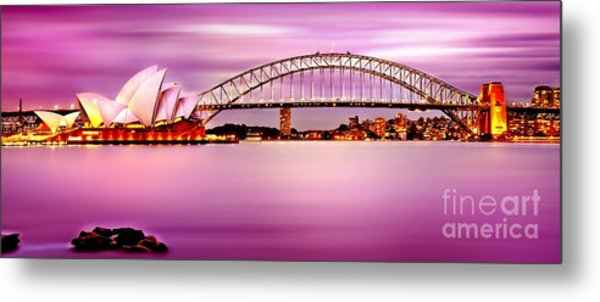 Sydney Harbour Pink Sunset Metal Print