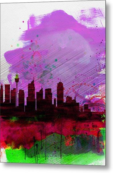 Sydney Watercolor Skyline 2 Metal Print