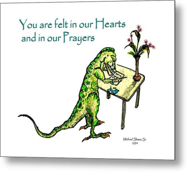 Sympathy Dinosaur Heart Felt Metal Print