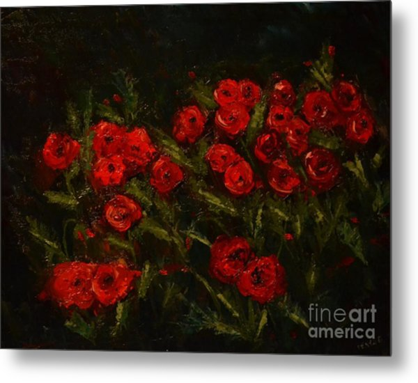 Symphony In Coquelicot Metal Print