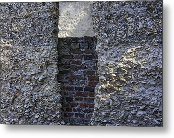 Tabby Wall With Red Brick Infill Metal Print by Lynn Palmer