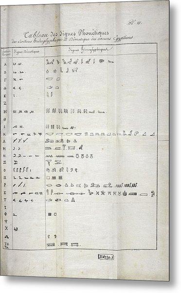 Table On Hieroglyphics Research Metal Print