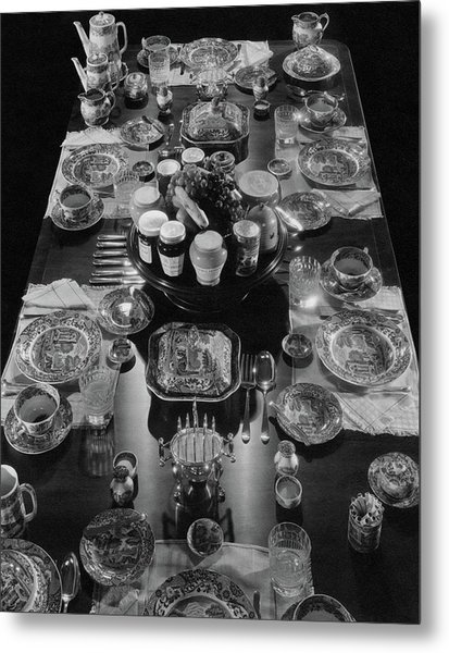 Table Settings On Dining Table Metal Print