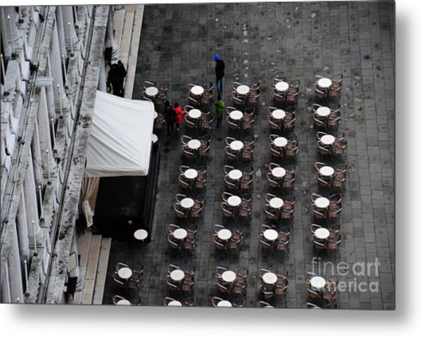 Tables At Florian's Metal Print by Jacqueline M Lewis
