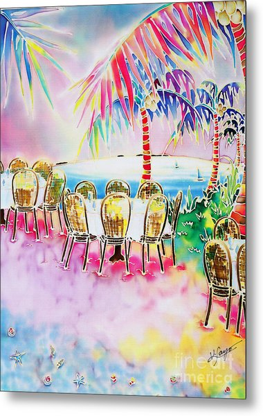 Tables On The Beach Metal Print