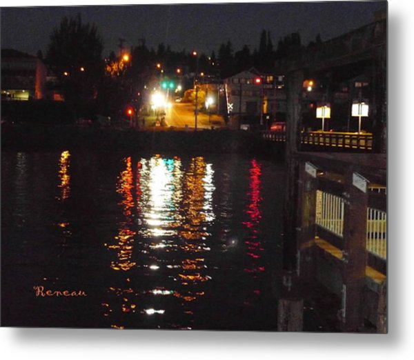 Tacoma Waterfront At Night On Ruston Way Metal Print