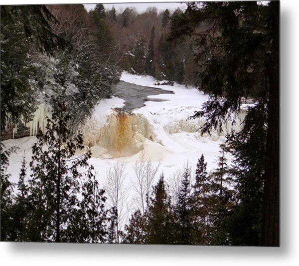 Tahquamenon Falls In Winter Metal Print