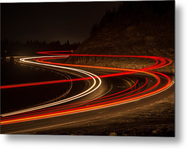 Tail Light Trails Metal Print by Joe Hudspeth