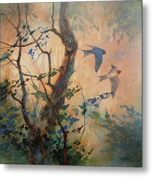 Take Flight - Barn Swallows Metal Print by Floy Zittin