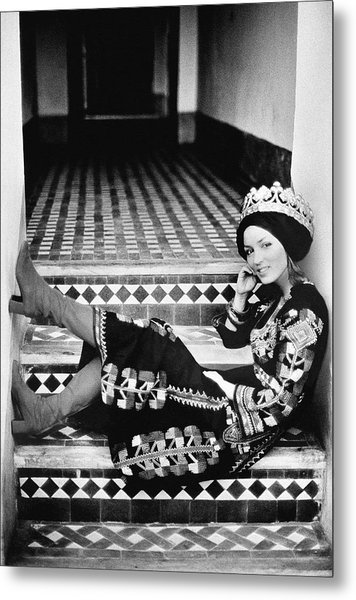 Talitha Getty Wearing A Berber Wedding Dress Metal Print