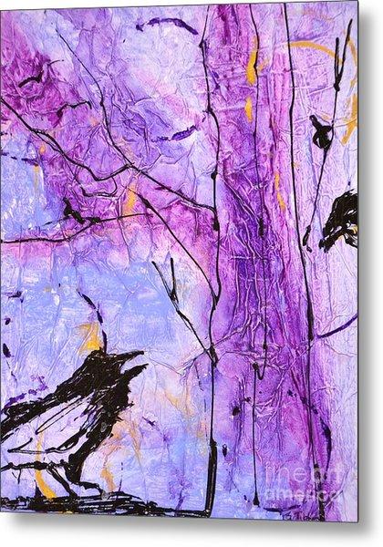 Talking Crows Metal Print