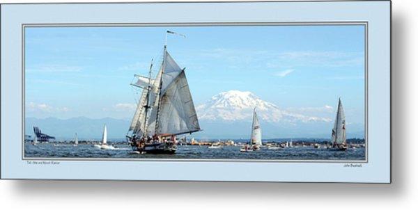 Tall Ship And Mt. Rainier Metal Print