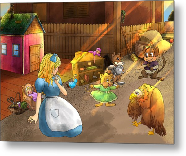 Tammy And Friends In The Backyard Metal Print