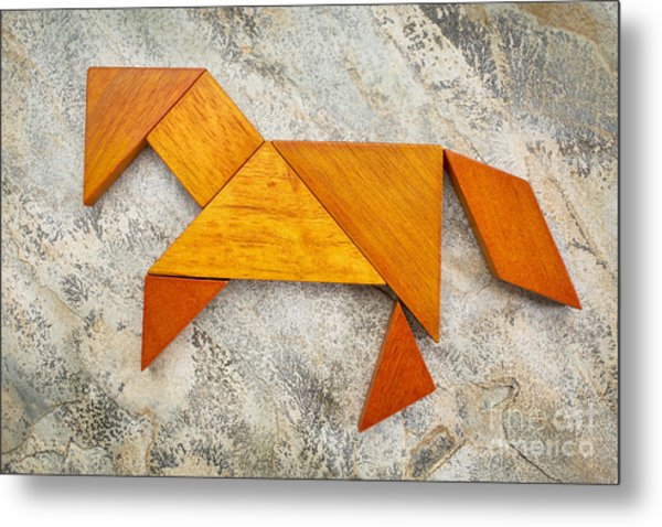 Tangram Horse Abstract Metal Print