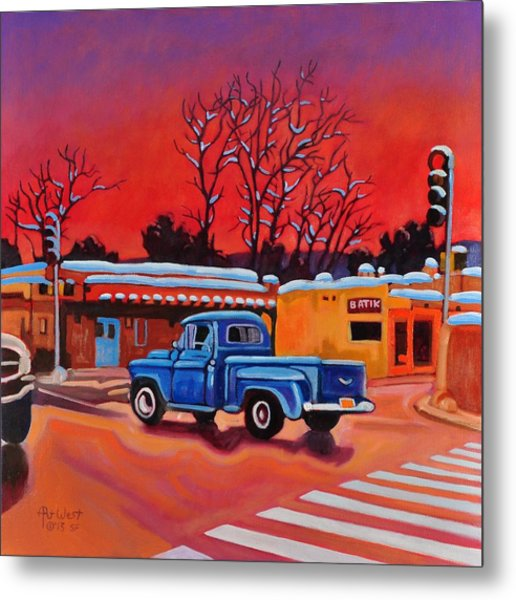 Taos Blue Truck At Dusk Metal Print