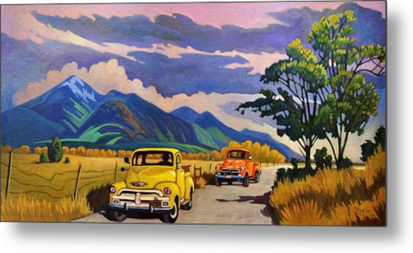 Taos Joy Ride With Yellow And Orange Trucks Metal Print