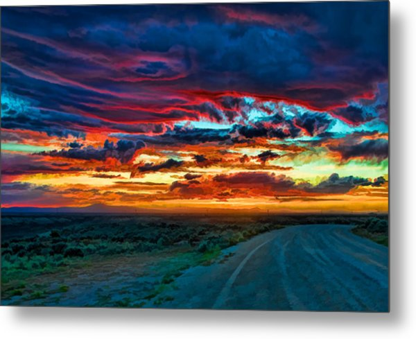 Taos Sunset Iv Metal Print