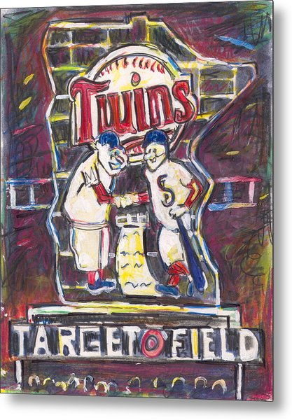 Target Field At Night Metal Print