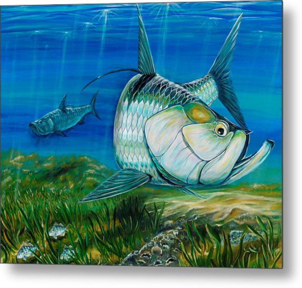 Metal Print featuring the painting Tarpon On The Flats by Steve Ozment