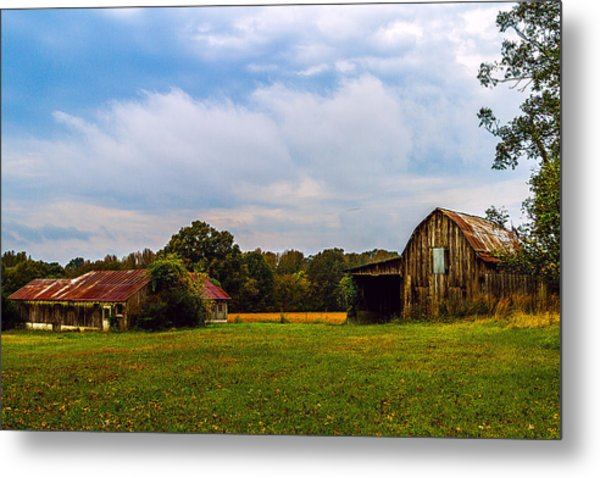 Tate Country Barns - Rural Landscape Metal Print by Barry Jones