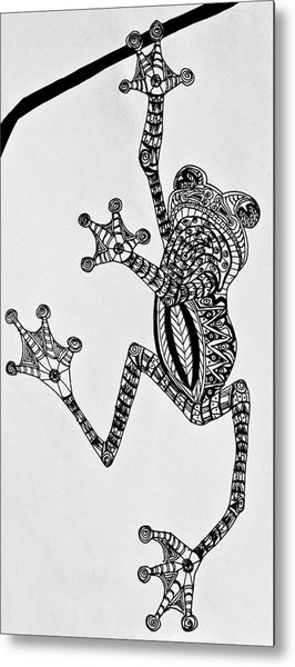 Metal Print featuring the drawing Tattooed Tree Frog - Zentangle by Jani Freimann