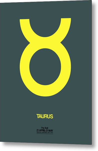 Taurus Zodiac Sign Yellow Metal Print