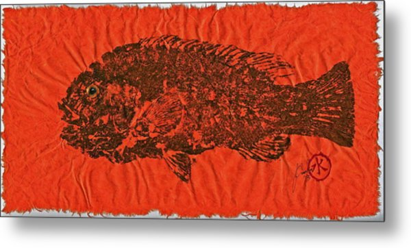 Tautog On Sienna Thai Unyru / Mulberry Paper Metal Print