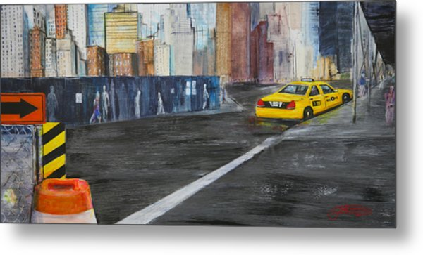 Taxi 9 Nyc Under Construction Metal Print