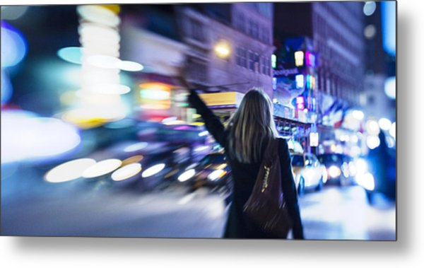Taxi's Hunting In Manhattan Metal Print