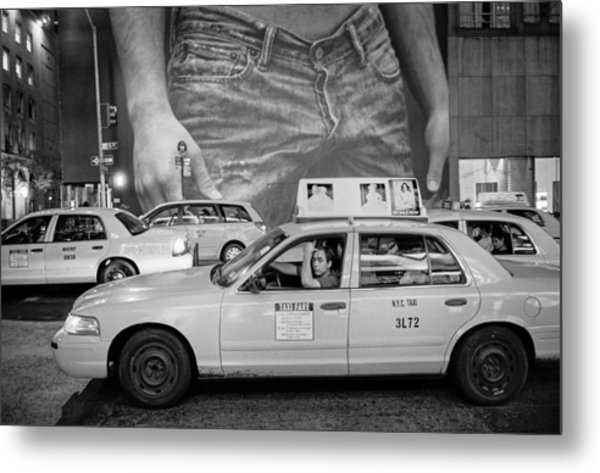 Taxis On Fifth Avenue Metal Print