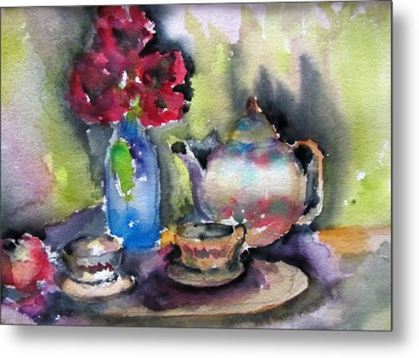 Tea And Flowers Metal Print