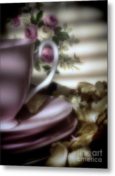 Tea Cups And Roses Metal Print