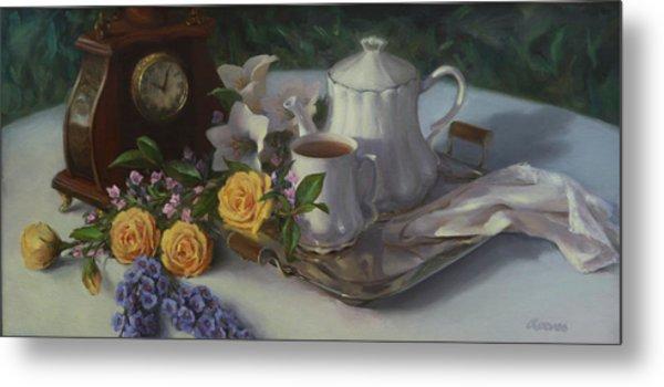 Tea In The Garden Metal Print