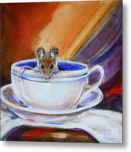 Tea Mouse Metal Print by Stella Violano
