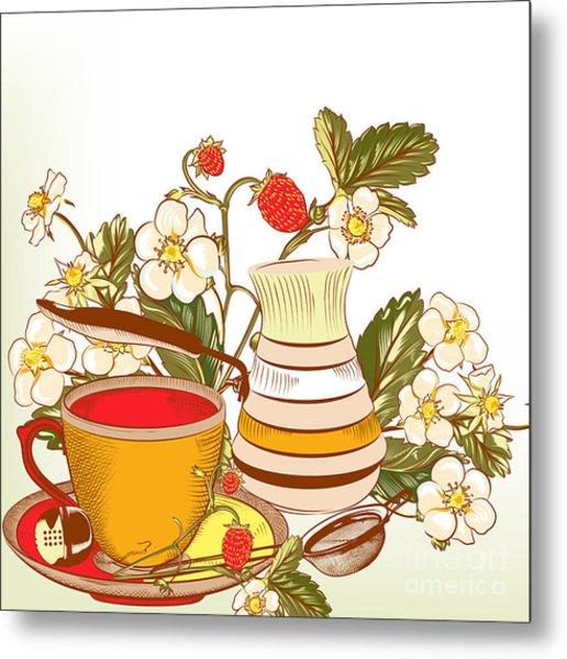 Tea Or Coffee Vector Background With Metal Print by Mashakotcur