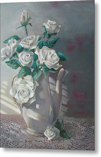 Tea Pot Roses Metal Print