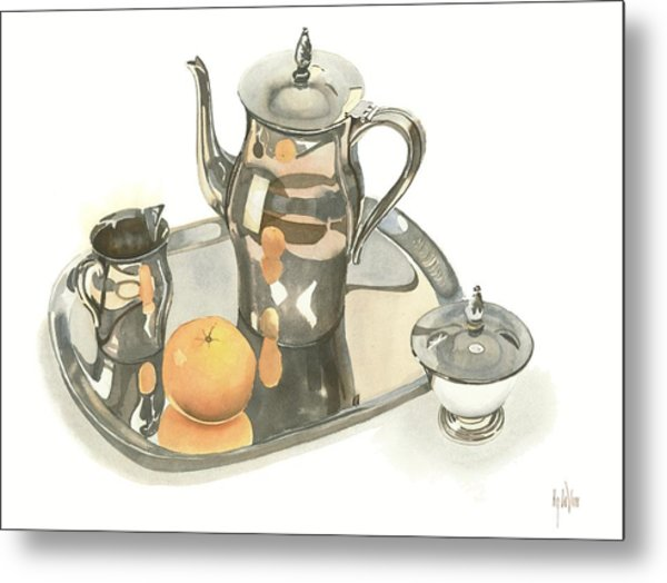 Tea Service With Orange Metal Print