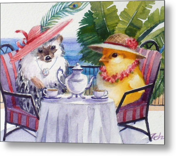Tea Time For A Baby Chick And Hedgehog Metal Print