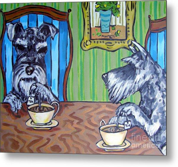 Tea Time For Schnauzers Metal Print by Jay  Schmetz