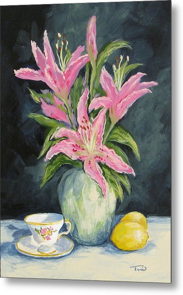 Tea With Lilies Metal Print