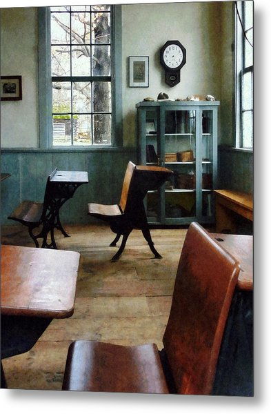 Teacher - One Room Schoolhouse With Clock Metal Print