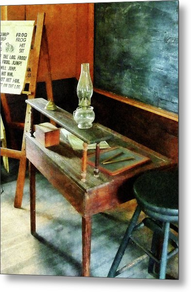 Teacher's Desk With Hurricane Lamp Metal Print