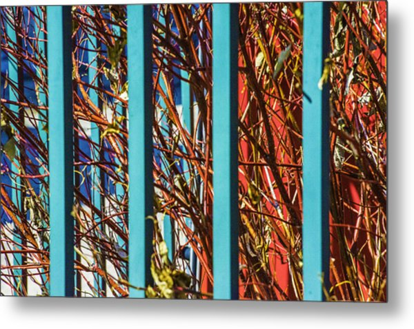 Teal Fence Metal Print