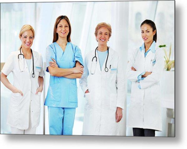 Team Of Female Doctors Metal Print by Skynesher