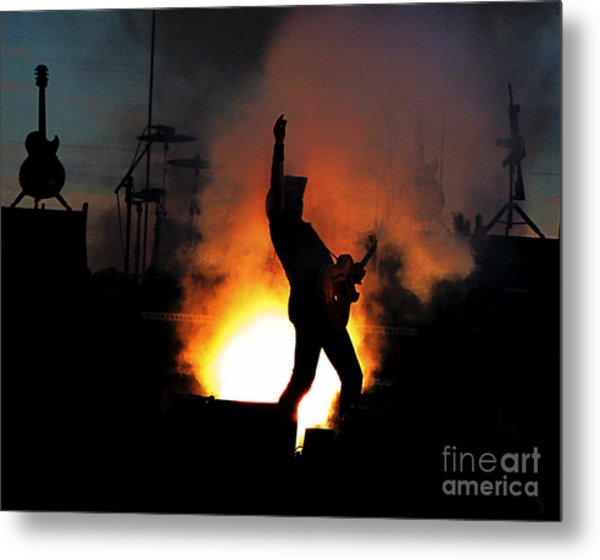 Ted Nugent On Fire Metal Print
